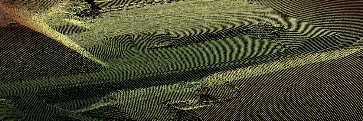Dark green Digital Terrain Model output processed using new Bare Earth Tool in LidarViewer.