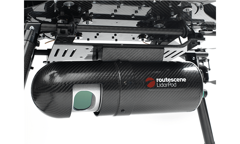 Close up of Routescene LidarPod, an integrated drone laser scanning system.