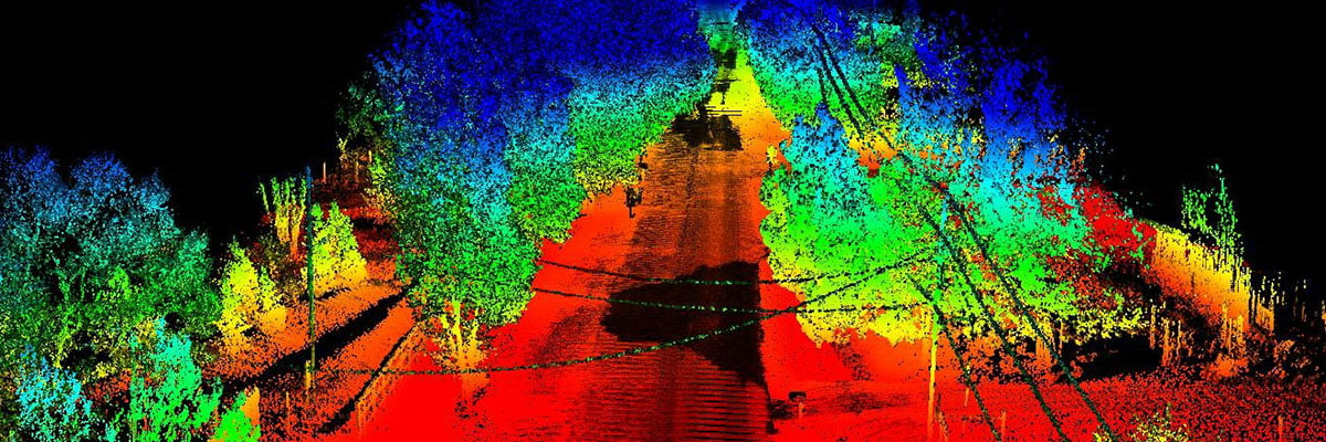 Colourful point cloud of a tree lined road in USA with trees converging on a powerline, used for vegetation management.