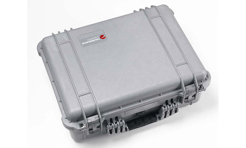 Close up of grey pelican case with Routescene logo.