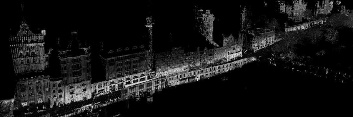 Black and white detailed point cloud of Edinburgh city centre processed using LidarViewer.