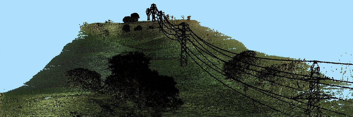 Olive green, black and light blue point cloud of continuous transmission line and trees for powerline inspection purposes.