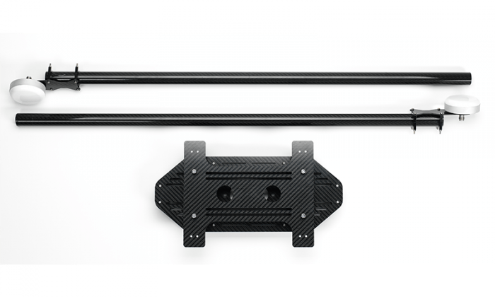 Close up of UAV mounting kit, dual GPS antenna on beams ready for drone integration.