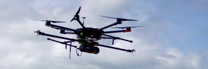 Routescene UAV LidarPod in flight
