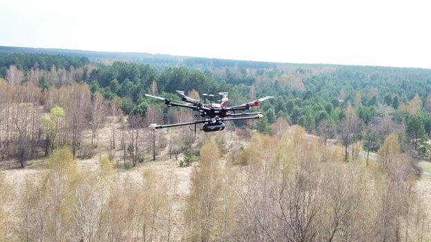 Routescene UAV LiDAR system flying at Chernobyl