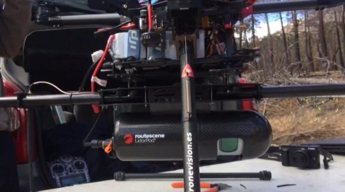 Routescene UAV LiDAR system mounted underneath the drone