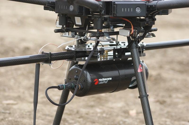 Routescene LidarPod LiDAR solutions mounted below a drone