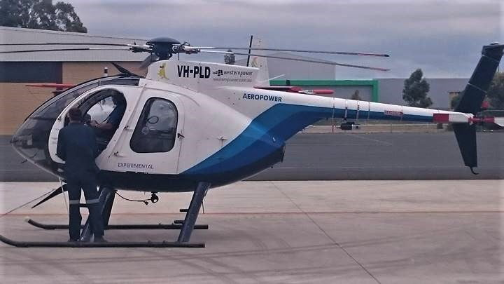 Hughes 500 Helicopter with Routescene LidarPod mounted onto the tail