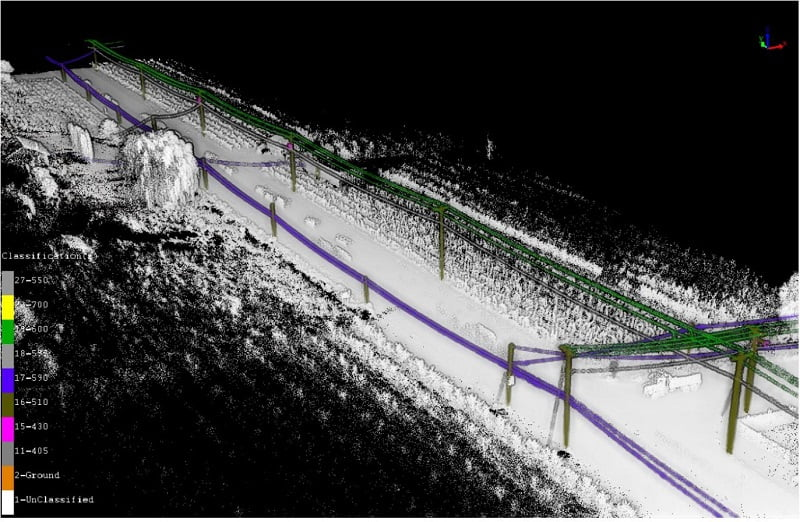 LiDAR data for powerlines classified