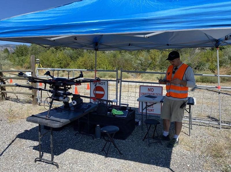 Preparing the LiDAR drone for take off