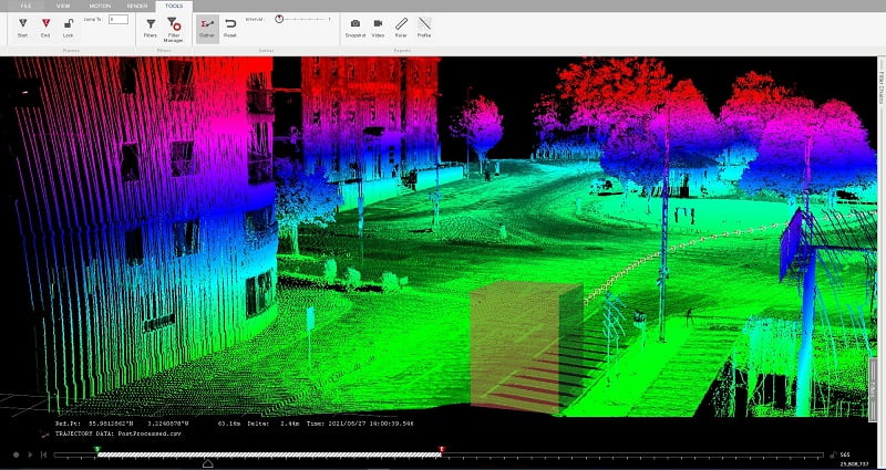 Routescene LiDAR software Box reduction filter