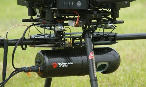 Routescene LidarPod mounted underneath an M600 drone