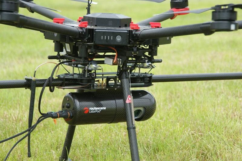 Routescene UAV LiDAR system mounted onto M600 drone