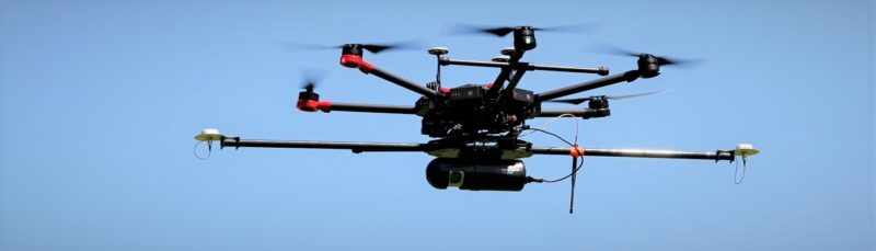 Routescene drone LiDAR system in flight