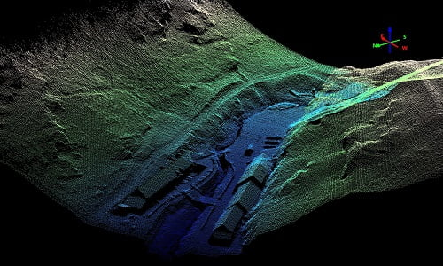 Survey and mapping Tintagel LiDAR Routescene