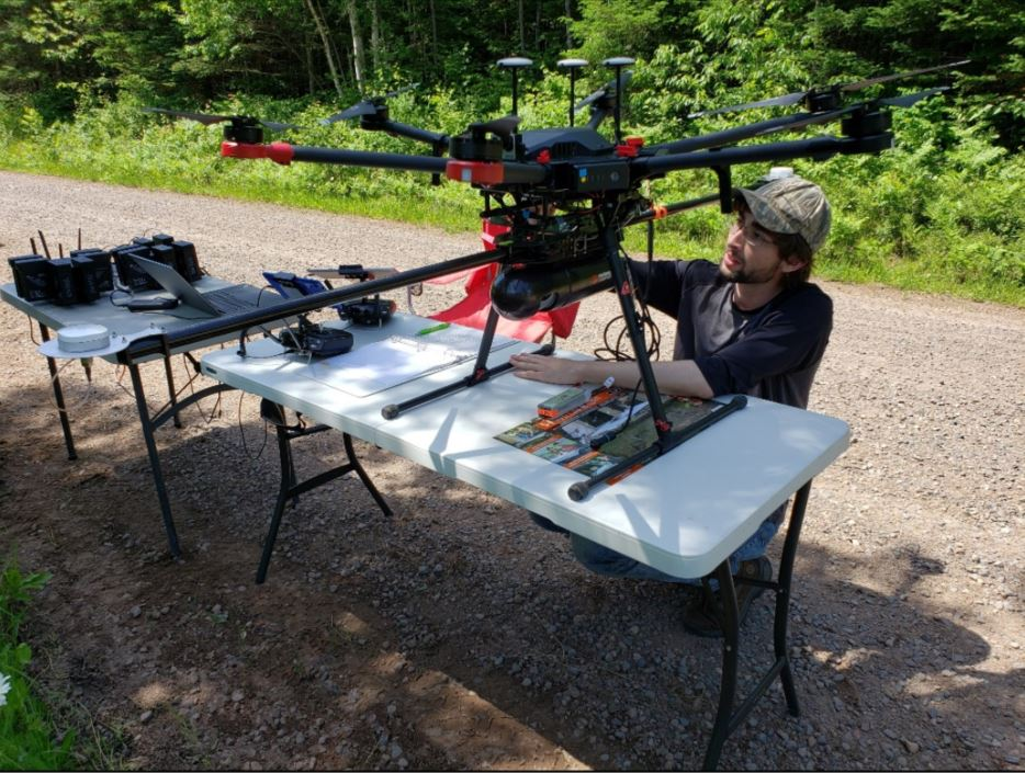 Routescene UAV LidarPod set up at CHEESEHEAD
