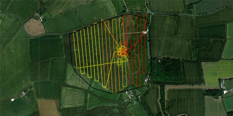The flight lines undertaken by the UAV LiDAR system