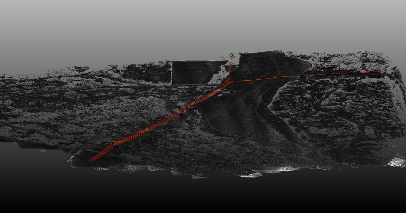 Routescene Digital Terrain Model with the powerlines and pylons highlighted